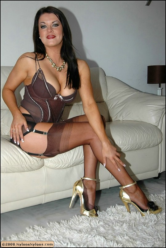 image Mature in fully fashioned nylon stockings